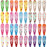 #9: SunWen 40 pcs New Design Snap Hair Clips 20 Pairs 2 Inch No Slip Metal Hair Clip Barrettes Accessories for Toddlers Girls Kids Women