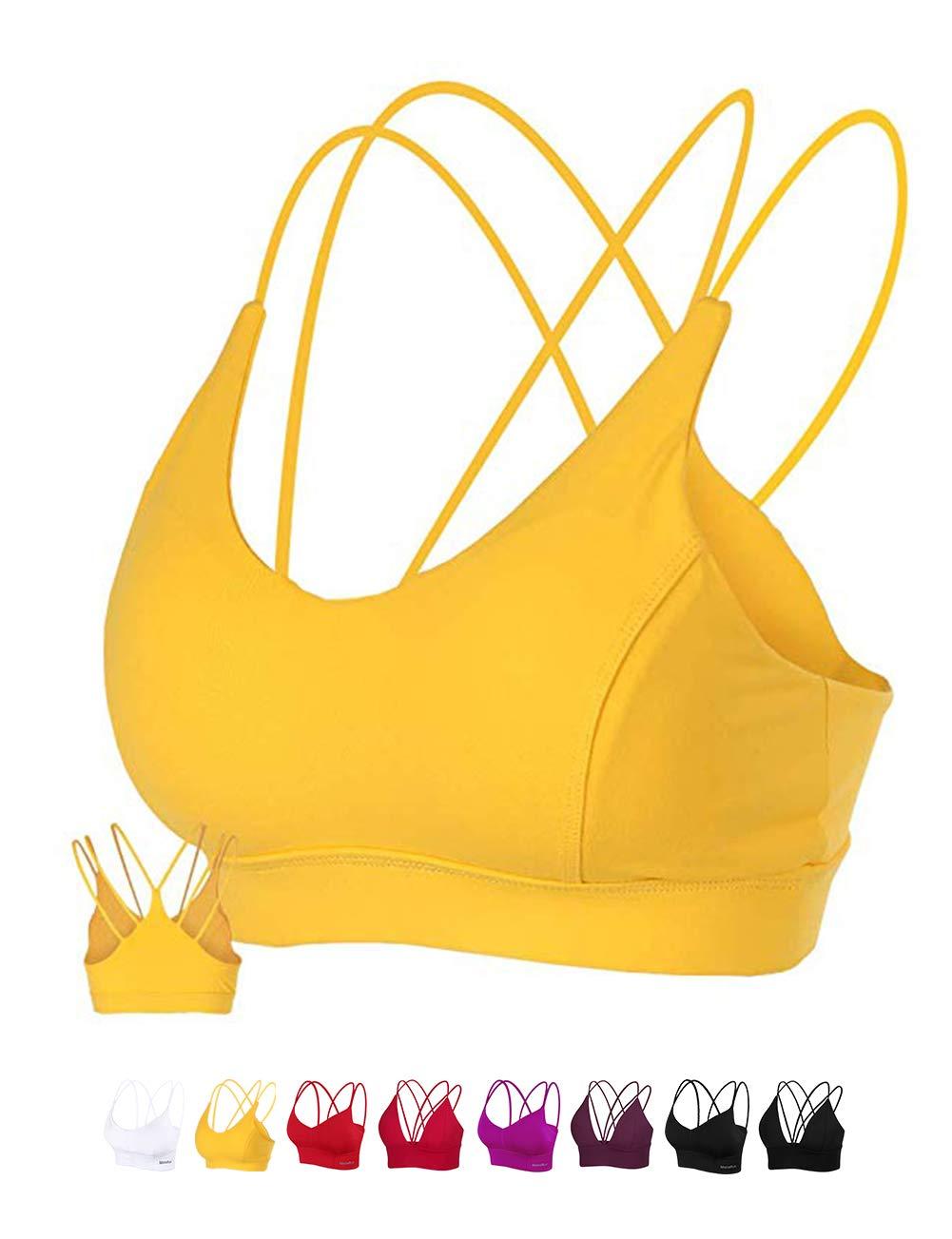 MotoRun Womens Push-Up Padded Strappy Sports Bra Cross Back Wirefree Fitness Yoga Top Lemon Yellow
