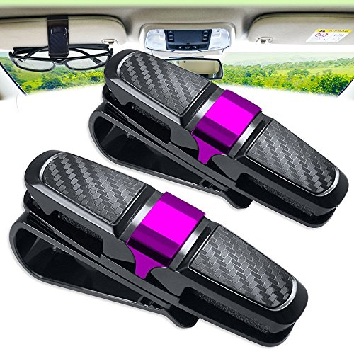 Glasses Holder for Car Sun Visor Clip, Amison 2 Pack Double Sunglasses Eyeglasses Mount with Ticket Card - Sunglasses Decent