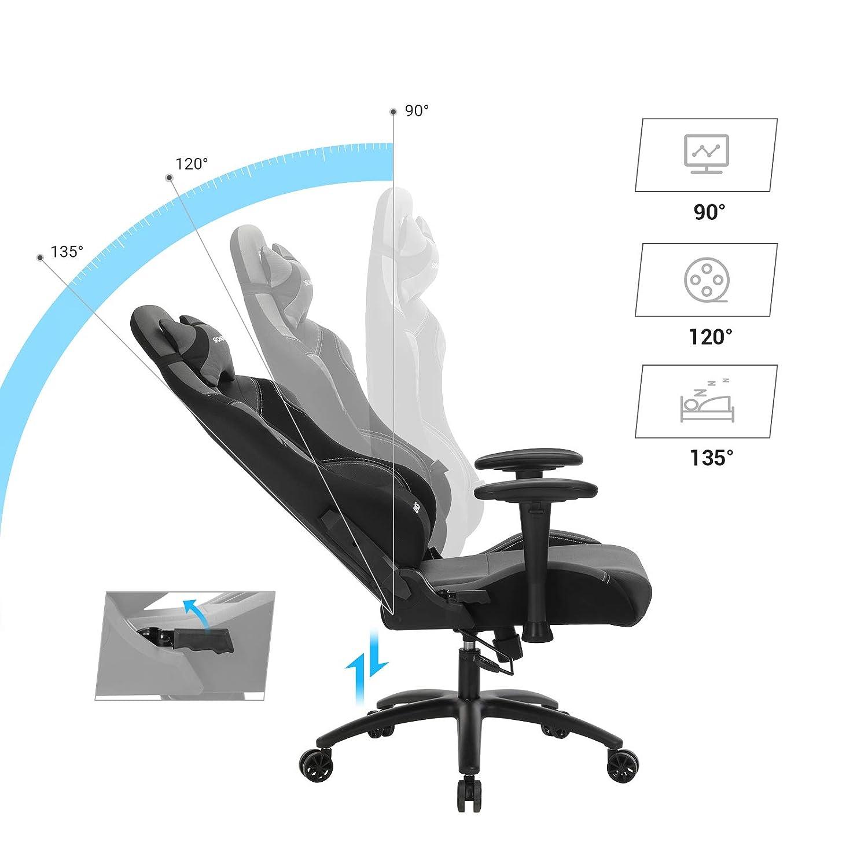 SONGMICS kontorsstol gaming stol med högt ryggstöd formskum vadderad sitskål justerbar kudde och ländkudde för soho- eller kontorsarbete, svartgrå, RCG02G svart / grå