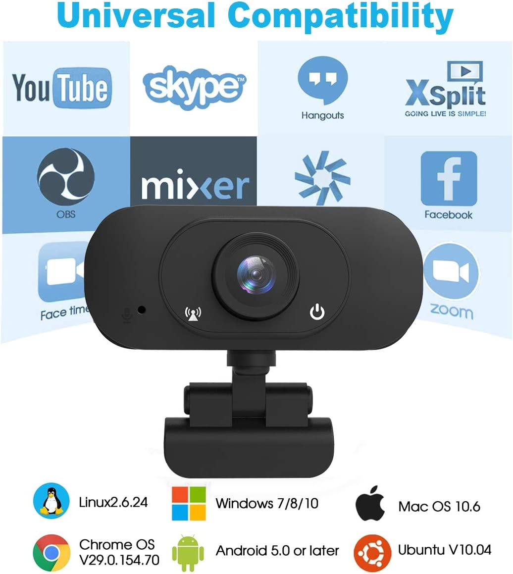 Manual Focus Desktop Laptop Camera Web Cameras for Video Calling Recording Conferencing,90 Extended View Computer Camera with Microphone Webcam 1080p
