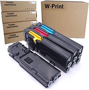Compatible Toner Cartridge Replacement for Dell S3840cdn S3845cdn Toner (Black 593-BCBC,Cyan 593-BCBF, Magenta 593-BCBE,Yellow 593-BCBD)-4 Pack by W-Print