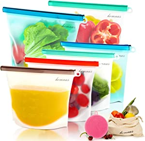 Reusable Silicone Food Storage Bags -2xLarge 1500ml, 4xMedium 1000ml,Sandwich Bags,with 2 bonus gift, Leakproof, Dishwasher Safe, Microwave Freezer, Maintain Freshness and Food Quality