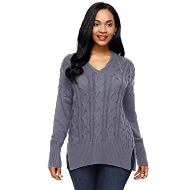 a4bd0eef1 Women Casual V Neck Loose Fit Knit Sweater Pullover Top Oversized Sweater  Long Sleeve Pullover (
