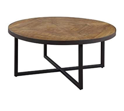 Lakdi Round Coffee Table Center Table With Circular Top And Metal
