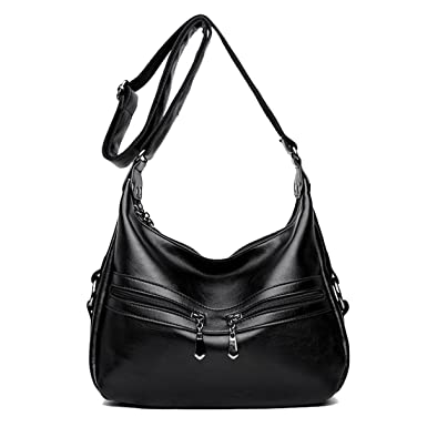 6ee7a4cc7481e Womens Stylish Shoulder Bag PU Leather Slouch Bags Cross Body Handbag Multi  Pocket Totes for Shopping Travel Daily Use (Black)  Amazon.co.uk  Clothing