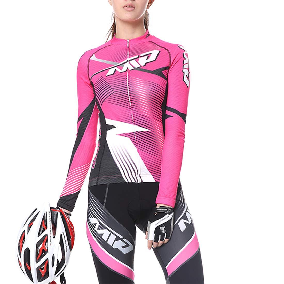 GWELL Damen Herren Radtrikot MTB Fahrradbekleidung Set Trikot Langarm Radhose mit 3D Sitzpolster f/ür Radsport
