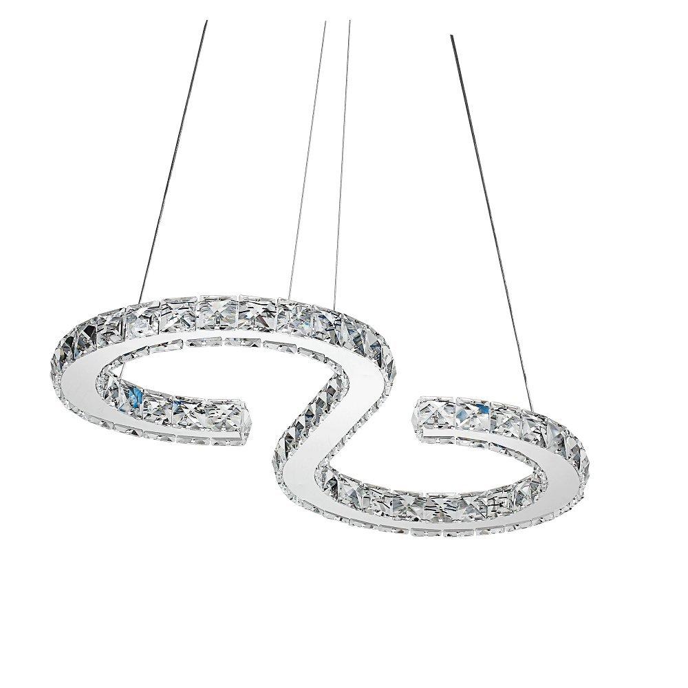 SAILUN 32W LED Kristall Design Hängelampe Deckenlampe Pendelleuchte Kreative Kronleuchter Warmweiß Lüster (S-Form)