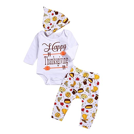 Newborn Baby Boys Girls Happy Thanksgiving Outfits Letter Print Long Sleeve Romper Food Pattern Pants Hat
