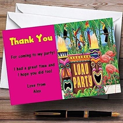 Amazon Com Pink Hawaiian Tropical Luau Personalized Party Thank