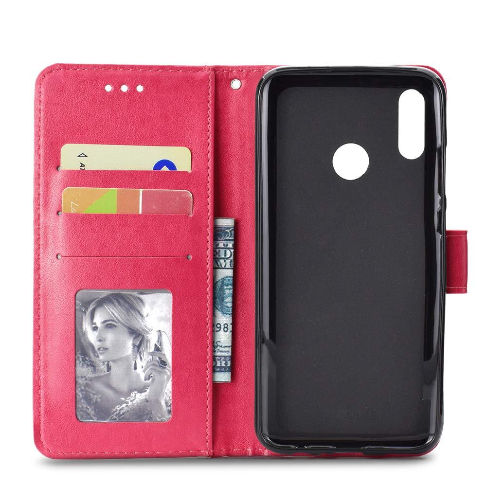 Coque Compatible Avec Huawei Honor 10 Lite Cuir De Couverture Housse Magnetique En Relief Coque Couverture De Cahier Avec Fentes Pour Cartes