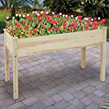 HOMGARDEN Wooden Raised Garden Bed Kit Elevated Planter Boxes Kit for Vegetable Flower Fruits Herb Containers Outdoor Gardening Natural Wood