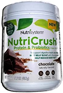 NUTRISYSTEM NutriCrush SHAKE (Protein & Probiotics) CHOCOLATE SHAKE MIX 16.3 OZ - 14 Servings - Support Digestive Health & Help Bust Belly Bloat