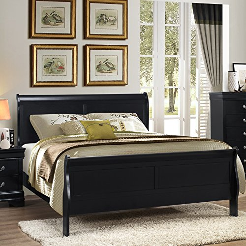 Roundhill Furniture Isony 594 Louis Philippe Style Wood Bedroom Furniture Set, King Bed, Dresser, Mirror and Nightstand, Black