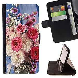 King Air - Prima caja de la PU billetera de cuero con ranuras para tarjetas, efectivo Compartimiento desmontable y correa para la mu?eca FOR Samsung Galaxy S6 G9200- Rose Pink Flower Romantic Love Heart