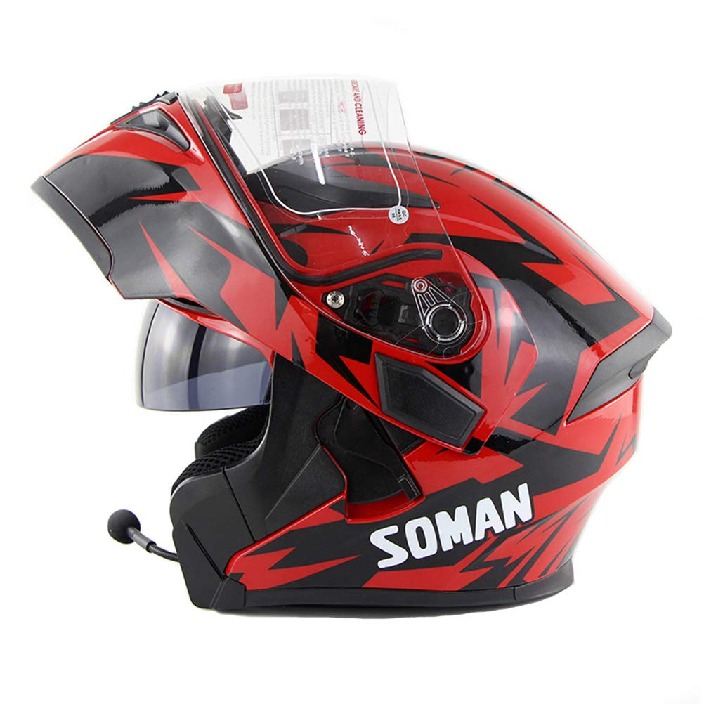OD-B Motorradhelm Cross Helm mit Bluetooth Downhill Fullface Sturzhelm hochklappen Vollgesichtshelm Roller Helm f/ür M/änner Frauen Motorrad Helm Cross Integralhelm Klapphelm Erwachsene DOT Helm
