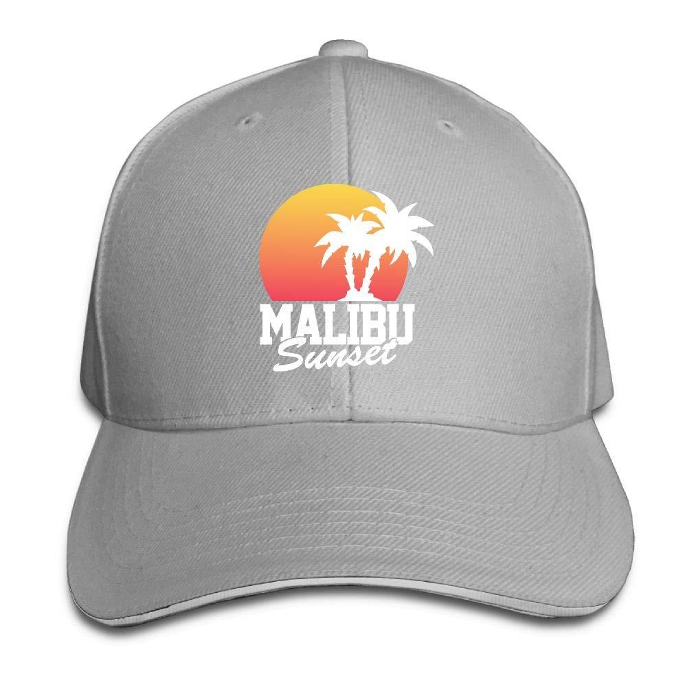 JustQbob1 Malibu Sunset Outdoor Snapback Sandwich Cap Adjustable Baseball Hat Trucker Cap