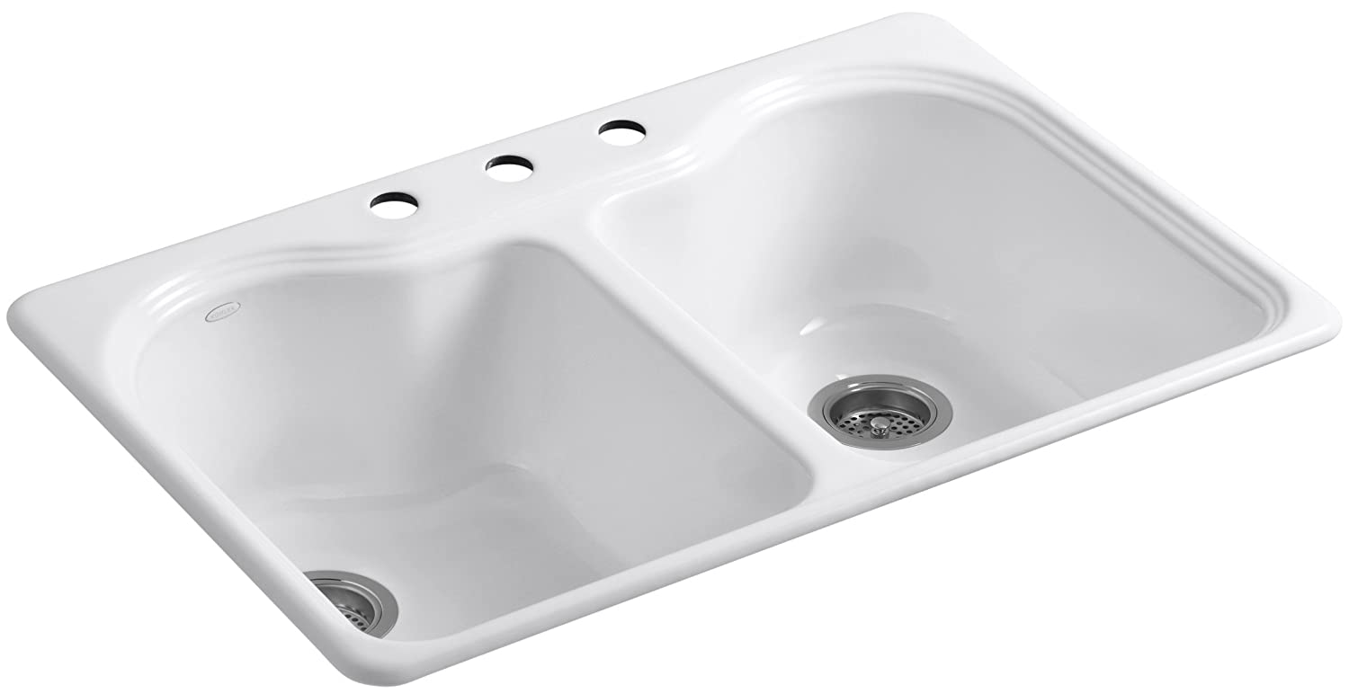 KOHLER K-5818-3-0 Hartland Self-Rimming Kitchen Sink with Three-Hole Faucet Drilling, White