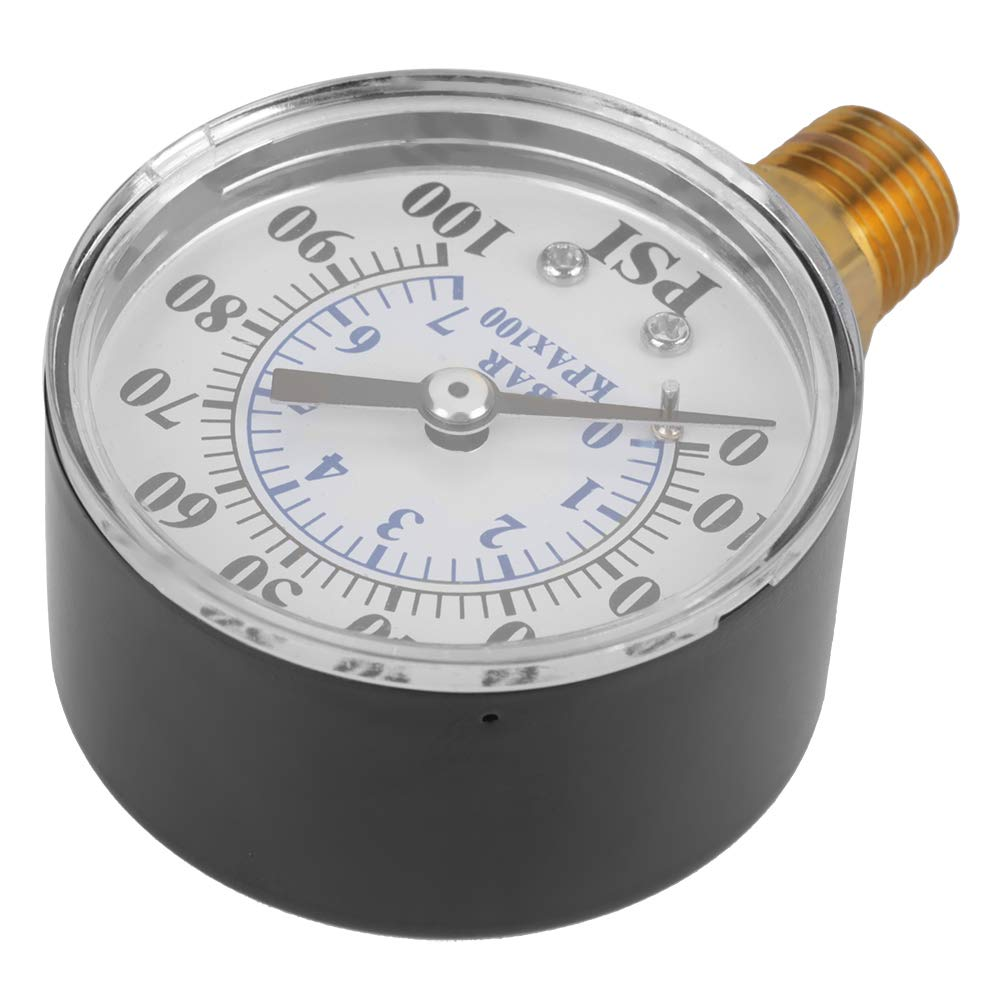 0-7Bar Dual Scale Dial Manometer NPT 1//4 Thread Connection for Water Air Oil Instrument Base Entry Hydraulic Pressure Gauge 0-100psi