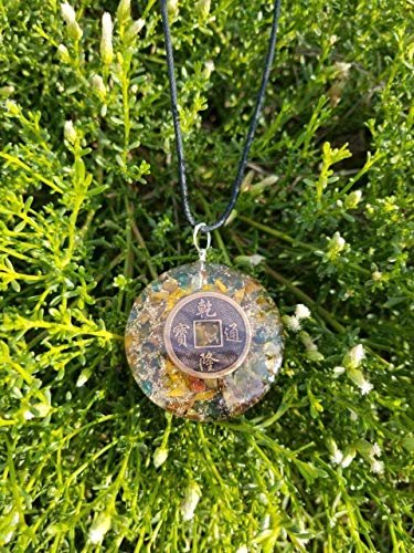 Reversible Money Attraction Orgone Pendant | Chinese ancient coin and $ dollar Symbol Orgonite| exquisite Green Jade, Tiger's Eye and Citrine Natural stones| EMF Protection | Reiki Infused