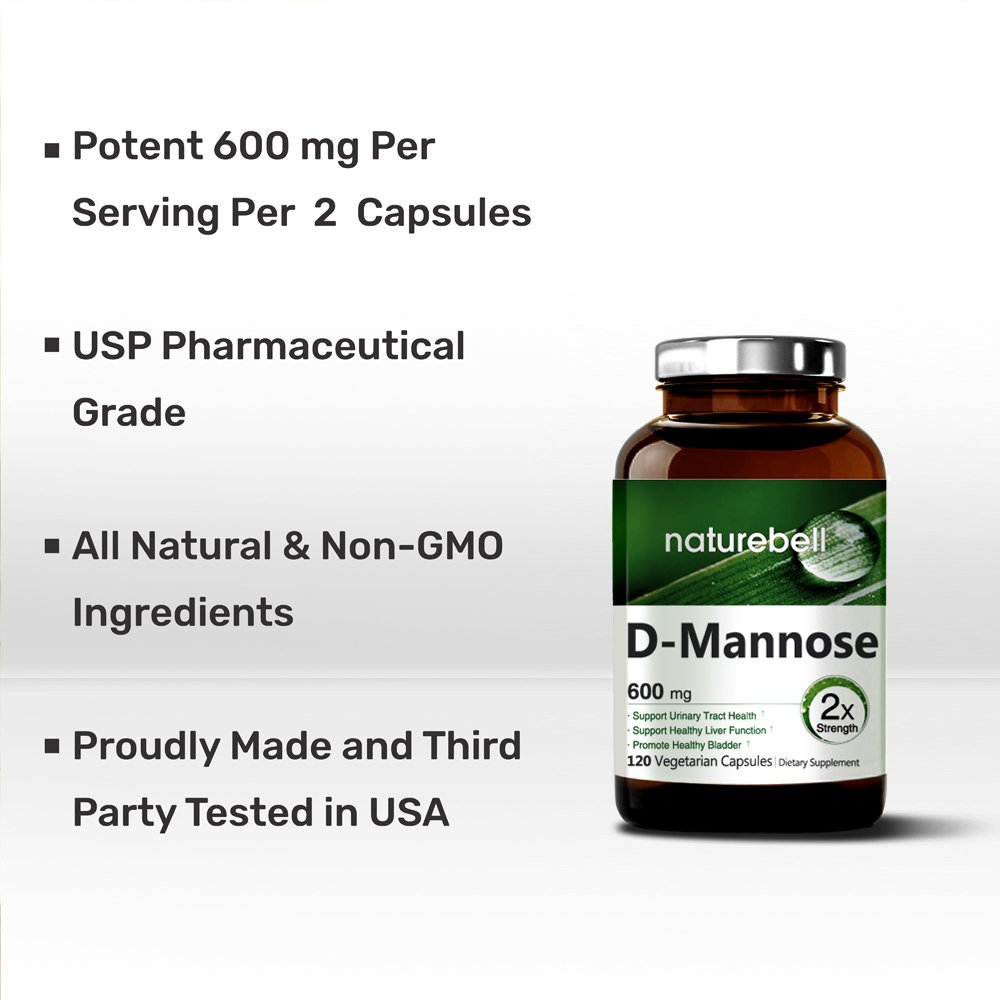 Maximum Strength Pure D-Mannose, 1200mg Per Serving, 120 Veg Capsules - Powerful Urinary Tract Infection & Bladder Cleanse, Non-GMO, Vegan Friendly and Made in USA