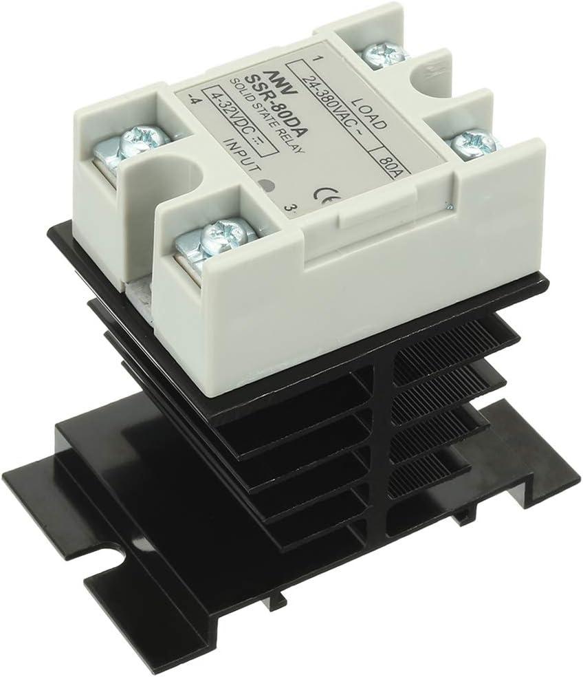 Sourcingmap/® Relais Groupe Statique SSR 25A 3-32V DC 24-380V AC Contr/ôle avec dissipateur Thermique