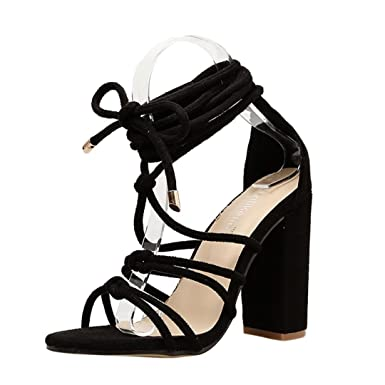 b42d0cdf059 Lolittas Ladies Gladiator Sandals for Women Size 2-7,High Chunky Heel Peep  Toe Wide Fit Strappy Lace Up Court Shoes  Amazon.co.uk  Clothing