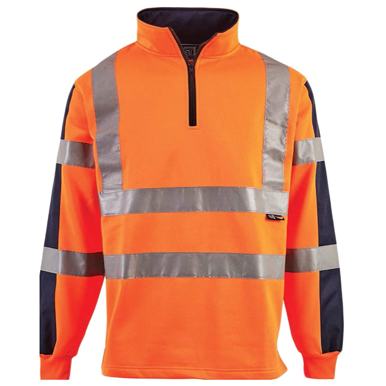 Hi Vis Viz 2 Tone Rugby Shirt High Visibility Sweatshirt Workwear Work Wear Safety Traffic Security Jumper Construction Two Band /& Brace Fluorescent Reflective Flashing Tape Sweat Shirt Fleece Top