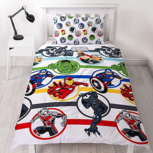 Marvel Avengers Strong Single Duvet Cover | Hulk, Thor, Iron Man & Captain America Reversible Two Sided Design | Kids Bedding Set Includes Matching Pillow Case