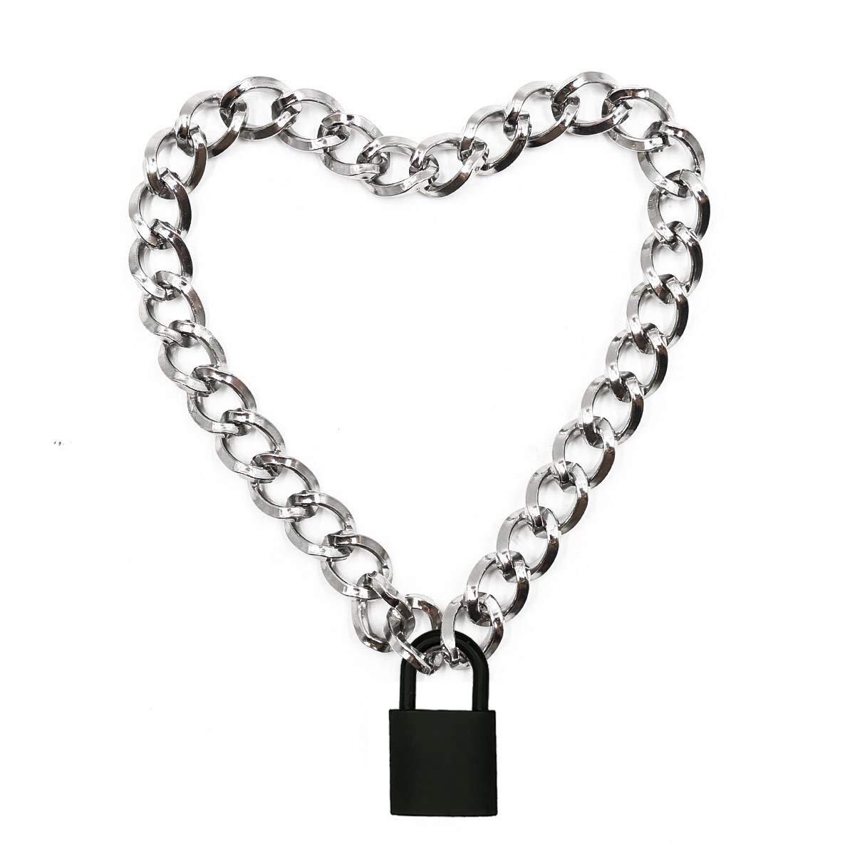 Lover Heart Padlock Necklace Metal Padlock Collar Choker for Men Women with Lock and Key 16in (C)