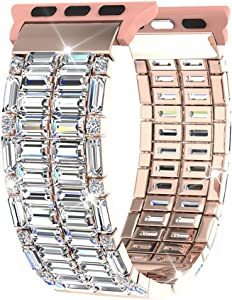 Compatible with Apple Watch Band 40mm 44mm Series SE 6 5 4 38mm 42mm Series 3 2, FresherAcc Zirconia Replacement Straps Compatible for iWatch Bands Bling Women Girls Jewelry Wristband (Rose Gold 40mm 38mm)