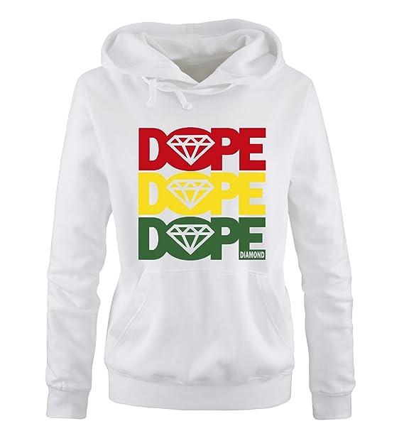 dope diamond - Sudadera con Capucha - Manga Larga - Mujer Blanco S: Amazon.es: Ropa y accesorios