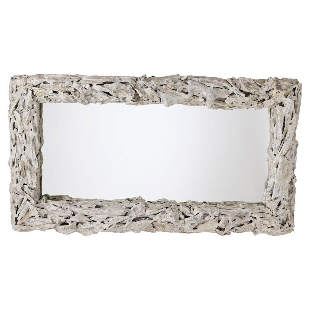Kathy Kuo Home Arianna Coastal Beach White Wash Driftwood Mirror