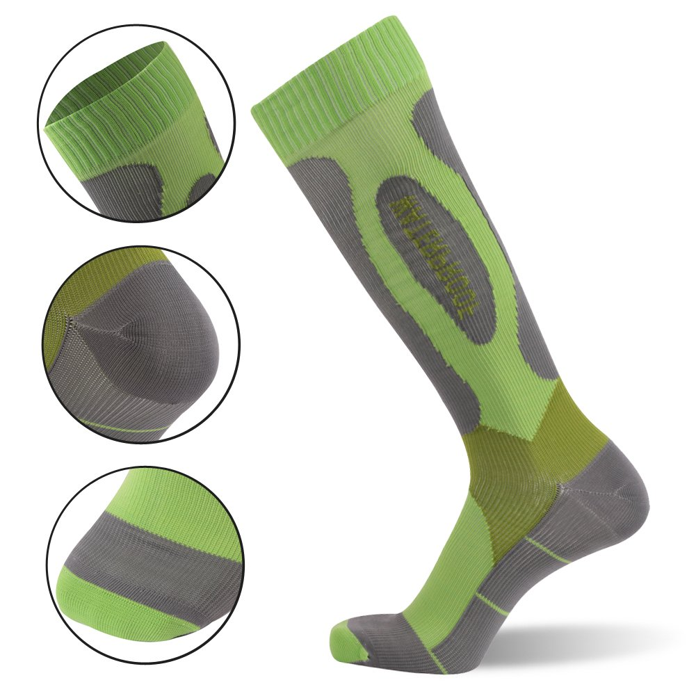 Waterproof Breathable Socks, Outdoor Socks, [SGS Certified]RANDY SUN Men's Designed Mountain Climbing Socks Green&Grey by RANDY SUN