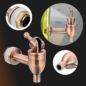 SEYMM Brass Copper Wine Barrel Cold Water Spigot Faucet for Drink Beverage Dispenser