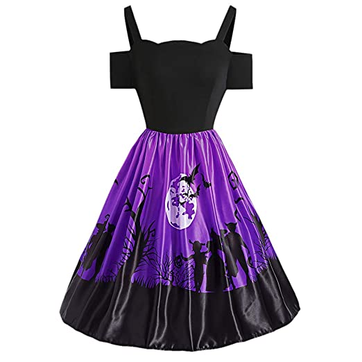 80a2077f22f DressLily Cold Shoulder Backless Short Sleeve Halloween Print A-line Women  Dress Violet S