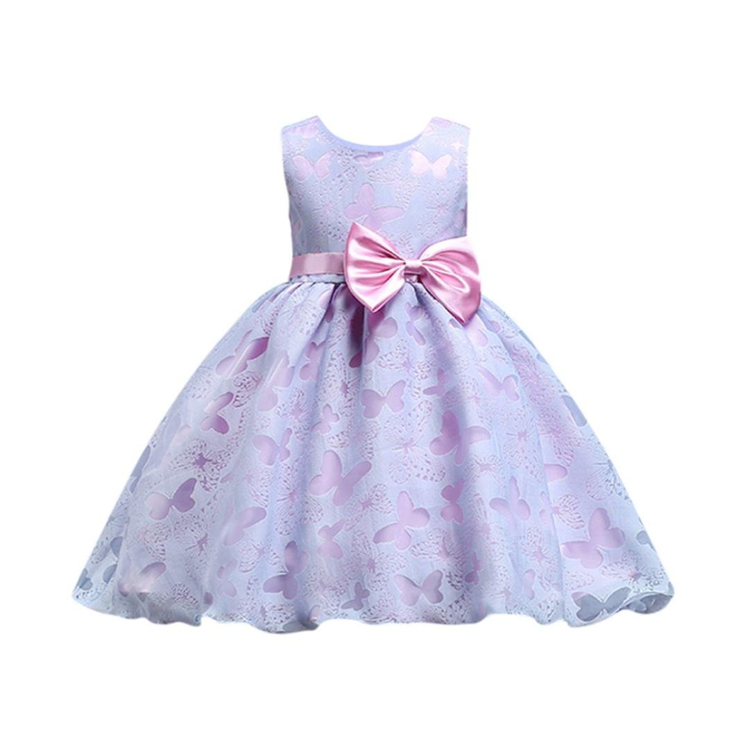 Moonker Girls Dress,Fashion Toddler Girl Bow Princess Bridesmaid Pageant Gown Party Wedding Dress For 1-7T (Purple, 1-2 Years Old)