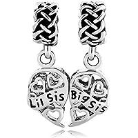 ShinyCharm Sister Heart Love Lil Sis & Big Sis Charm Celtic Knot Beads for Charm Bracelets