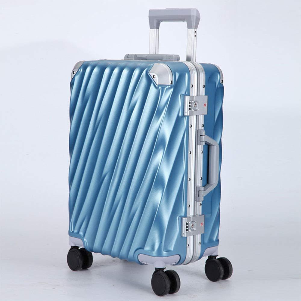 GLJJQMY トロリーケースビジネスツイルアルミフレームトロリーケースユニバーサルホイールスーツケースパスワードロック搭乗ケース トロリーケース (色 : Ice Blue, サイズ さいず : 24 inches) B07SDLQMWX Ice Blue 24 inches