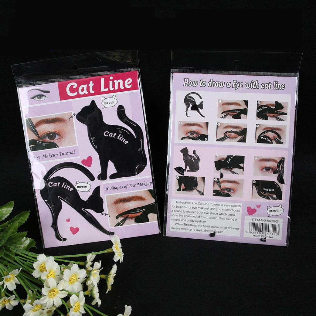 Amazon.com: DMZ 2Pcs Women Cat Line Pro Eye Makeup Tool Eyeliner Cat Eye Card Stencils Shaper Model: Kitchen & Dining