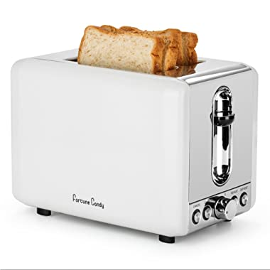 Fortune Candy White Toaster 2 Slice, Compact Retro Stainless Steel 2 Slice Toaster with 6 Toast Shade Settings, Bagel/Defrost/Reheat/Cancel Function, Extra Wide Slots, Removable Crumb Tray