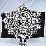 Sleepwish Mandala Hooded Blanket Black and White Yoga Sherpa Fleece Blanket Lotus Meditation Hooded Wrap Blanket (Kids 50''x 60'')