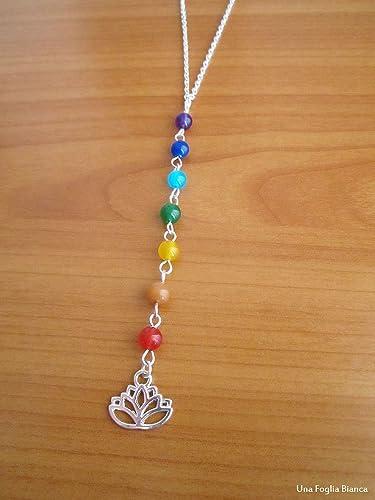 Collar con 7 chakra perlas flor de loto handmade yoga ...