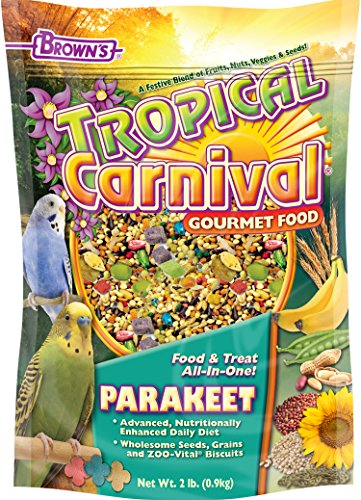 617Quo17JLL - Tropical Carnival F.M. Brown's Gourmet Parakeet Food, Nutritionally Enhanced Daily Diet with Fruits, Veggies, Nuts, Seeds, and Grains, Vitamin-Nutrient Fortified, 2lb