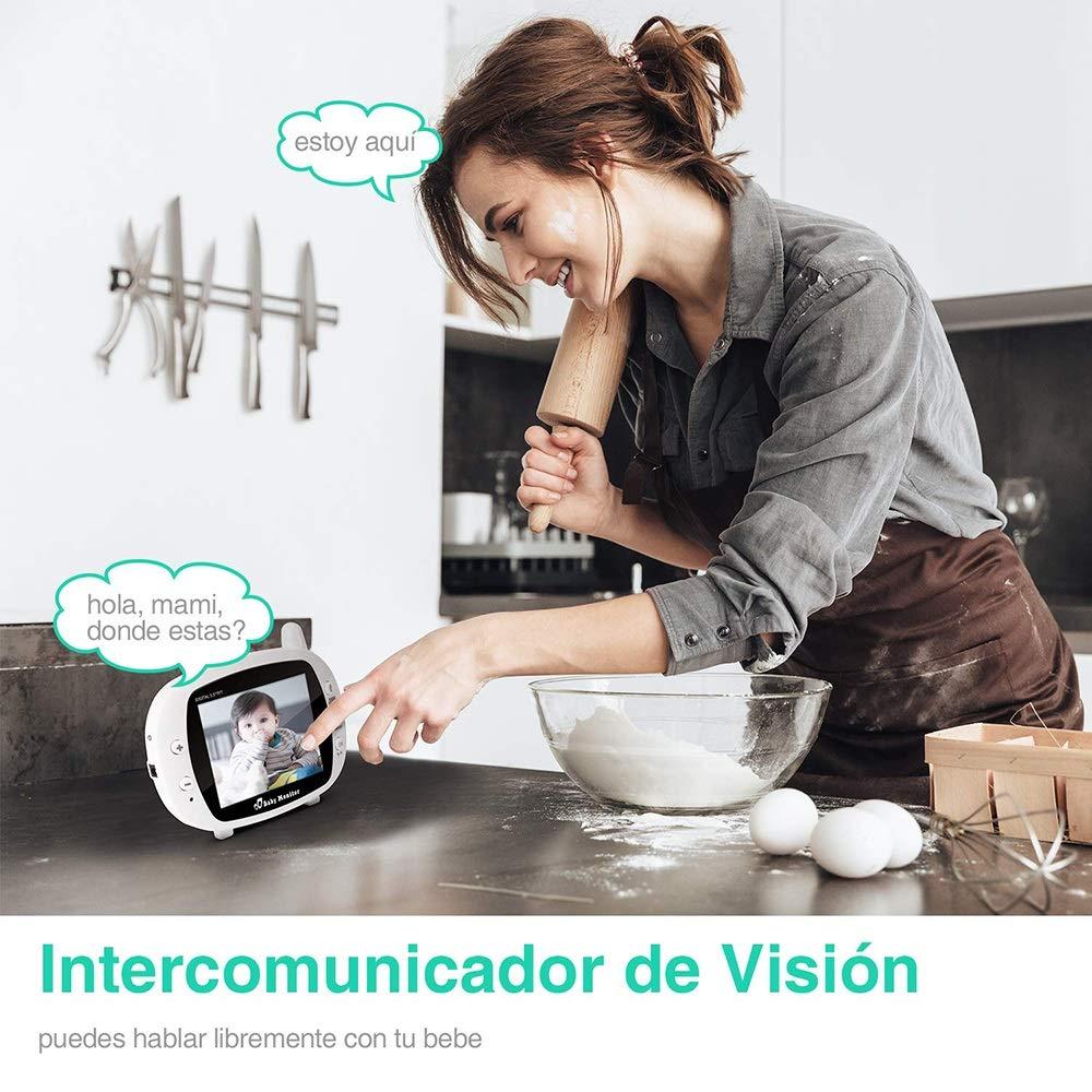 Comunicaci/ón Bidireccional Vigilabeb/és Inal/ámbrico MOCN Beb/é Monitor Inteligente con Pantalla LCD 3.5 Monitoreo de Temperatura Ampliable a 4 Cameras Visi/ón Nocturna C/ámara Vigilancia Bebe