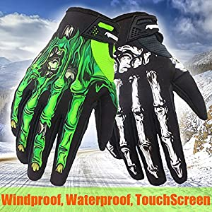 Winter Windproof Waterproof Touch Screen Glove Skull Zombie Bone Design Cycling Climbing Motorcycles Cycling Gardening Gloves Men & Women (green, M)
