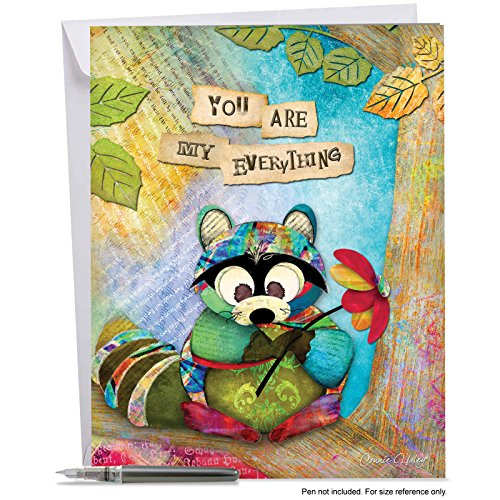 J2952FANG Jumbo Anniversary Card: FOREST FRIENDS: Featuring an Image of a Raccoon Holding a Flower and an Inspirational Saying; With Envelope (Large Size: 8.5
