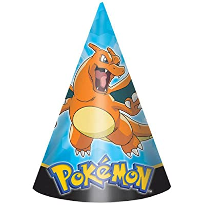 "amscan Electrifyingly Cute Pikachu & Friends Birthday Party Paper Cone Hats Favor (8 Pack), 6"", Blue: Toys & Games"