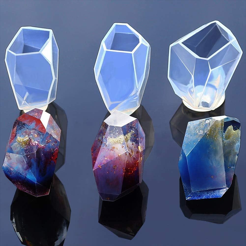 Janedream 3D-Kerzenform geometrische Steinform Seifenform 01-t Silikon Kunstharz Aroma-Kerze Gips