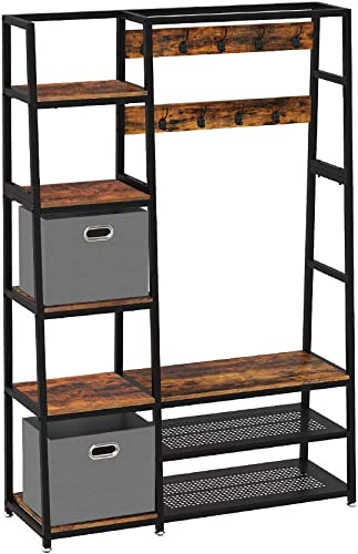 Rolanstar Industrial 5 Shelf Hall Tree with Shoe Bench and Coat Racks and 2 Foldable Cube Storage Bins, Wood Accent Furniture for Entryway, Bedroom, Sturdy and Easy Assembly
